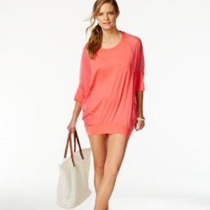 Coco Reef Chiffon Combo Swim Cover Up Dress Coral